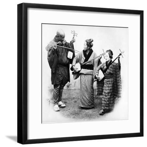Japanese Musicians, C.1860s-Felice Beato-Framed Art Print