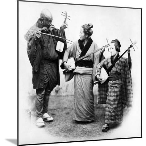 Japanese Musicians, C.1860s-Felice Beato-Mounted Photographic Print