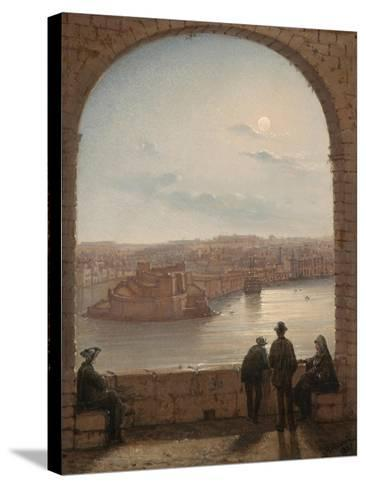 A Moonlit View of Fort St Angelo, Valletta, 1887-Giancinto Gianni-Stretched Canvas Print