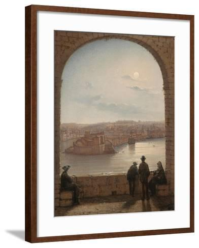 A Moonlit View of Fort St Angelo, Valletta, 1887-Giancinto Gianni-Framed Art Print