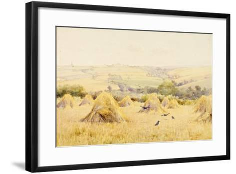 View of a Cornfield with Rooks-Harry E. James-Framed Art Print