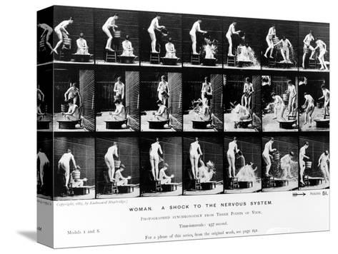 Woman. a Shock to the Nervous System, 1887, Illustration from 'The Human Figure in Motion' by…-Eadweard Muybridge-Stretched Canvas Print