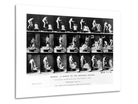 Woman. a Shock to the Nervous System, 1887, Illustration from 'The Human Figure in Motion' by…-Eadweard Muybridge-Metal Print