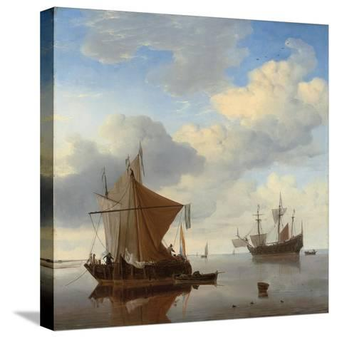 A Calm - a Smalschip and a Kaag at Anchor with an English Man-O'-War Beyond-Willem Van De, The Younger Velde-Stretched Canvas Print