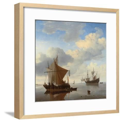 A Calm - a Smalschip and a Kaag at Anchor with an English Man-O'-War Beyond-Willem Van De, The Younger Velde-Framed Art Print