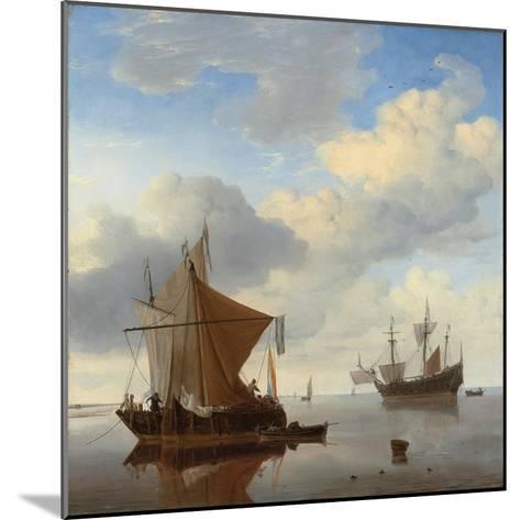 A Calm - a Smalschip and a Kaag at Anchor with an English Man-O'-War Beyond-Willem Van De, The Younger Velde-Mounted Giclee Print
