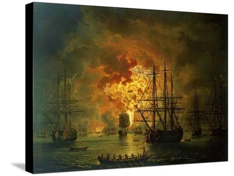 The Destruction of the Turkish Fleet at the Bay of Chesma, 1772-Jacob-Philippe Hackert-Stretched Canvas Print