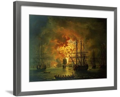 The Destruction of the Turkish Fleet at the Bay of Chesma, 1772-Jacob-Philippe Hackert-Framed Art Print