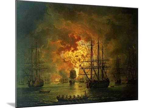 The Destruction of the Turkish Fleet at the Bay of Chesma, 1772-Jacob-Philippe Hackert-Mounted Giclee Print