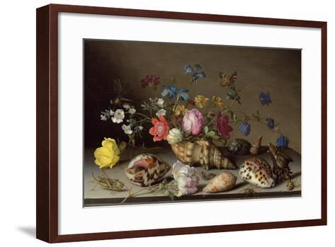 Flowers, Shells and Insects on a Stone Ledge-Balthasar van der Ast-Framed Art Print