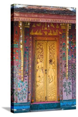 Elaborate Gilded Temple Door and Glass Mosaic on Exterior Wall--Stretched Canvas Print