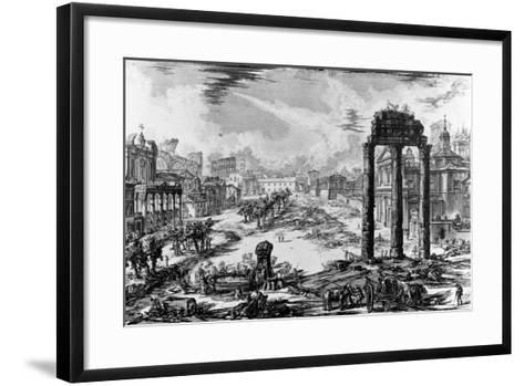 View of the Roman Forum, from the 'Views of Rome' Series, 1758-Giovanni Battista Piranesi-Framed Art Print