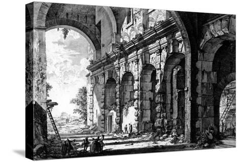 View of the Remains of the Temple of Claudius Near the Church of Santi Giovanni E Paolo, from the?-Giovanni Battista Piranesi-Stretched Canvas Print
