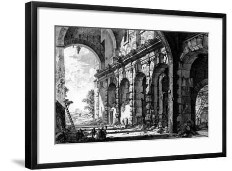 View of the Remains of the Temple of Claudius Near the Church of Santi Giovanni E Paolo, from the?-Giovanni Battista Piranesi-Framed Art Print