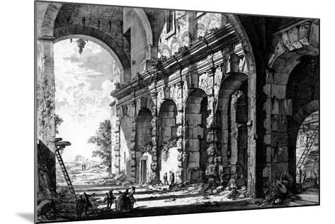 View of the Remains of the Temple of Claudius Near the Church of Santi Giovanni E Paolo, from the?-Giovanni Battista Piranesi-Mounted Giclee Print