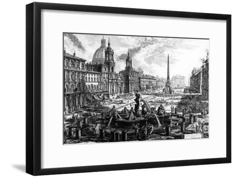 View of the Piazza Navona, from the 'Views of Rome' Series, C.1760-Giovanni Battista Piranesi-Framed Art Print
