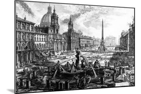 View of the Piazza Navona, from the 'Views of Rome' Series, C.1760-Giovanni Battista Piranesi-Mounted Giclee Print
