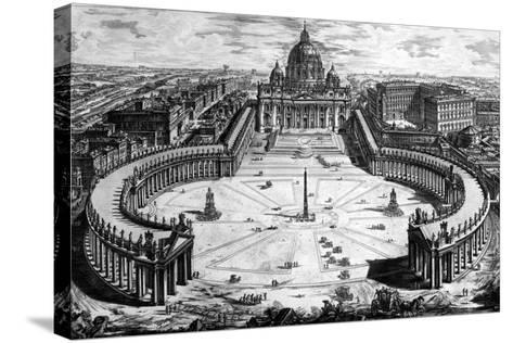 Bird's-Eye View of St. Peter's Basilica and Piazza, Form the 'Views of Rome' Series, C.1760-Giovanni Battista Piranesi-Stretched Canvas Print