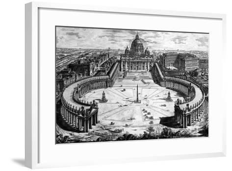 Bird's-Eye View of St. Peter's Basilica and Piazza, Form the 'Views of Rome' Series, C.1760-Giovanni Battista Piranesi-Framed Art Print