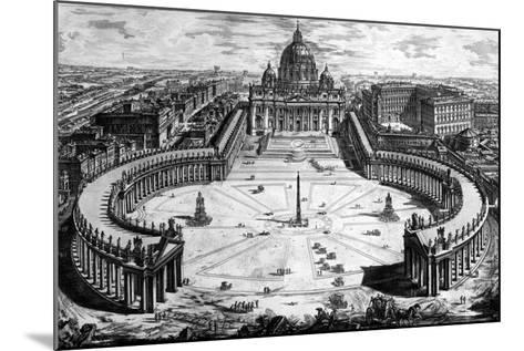 Bird's-Eye View of St. Peter's Basilica and Piazza, Form the 'Views of Rome' Series, C.1760-Giovanni Battista Piranesi-Mounted Giclee Print