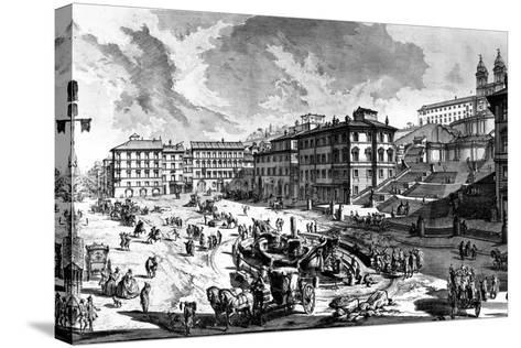 View of the Piazza Di Spagna, from the 'Views of Rome' Series, C.1760-Giovanni Battista Piranesi-Stretched Canvas Print