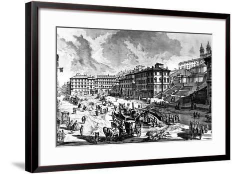 View of the Piazza Di Spagna, from the 'Views of Rome' Series, C.1760-Giovanni Battista Piranesi-Framed Art Print