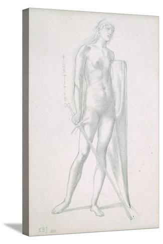 Nude Full-Length and Study for Fortitude, Holding Long Shield and Sword, C.1870-Edward Burne-Jones-Stretched Canvas Print