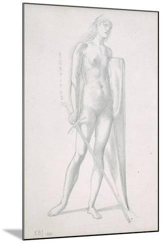 Nude Full-Length and Study for Fortitude, Holding Long Shield and Sword, C.1870-Edward Burne-Jones-Mounted Giclee Print