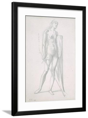 Nude Full-Length and Study for Fortitude, Holding Long Shield and Sword, C.1870-Edward Burne-Jones-Framed Art Print