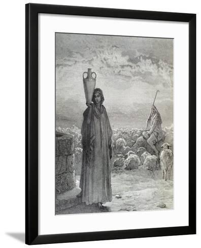 Jacob in His Uncle Laban's House and the Father of His Two Wives Leah and Rachel. Engraving by…--Framed Art Print