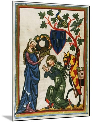 Der Schenk Von Limburg, Ministerial Swabian (Mid 13th Century) Says Goodbye to His Lady before…--Mounted Giclee Print