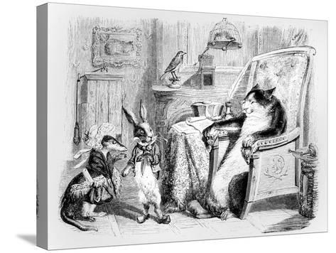 The Cat, the Weasel and the Little Rabbit, Illustration for 'Fables' of La Fontaine (1621-95),…-J^J^ Grandville-Stretched Canvas Print