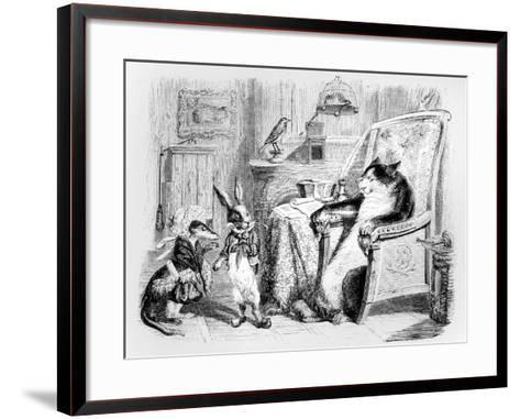 The Cat, the Weasel and the Little Rabbit, Illustration for 'Fables' of La Fontaine (1621-95),…-J^J^ Grandville-Framed Art Print