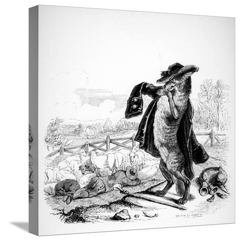 The Wolf Turned Shepherd, Illustration for 'Fables' of La Fontaine (1621-95), Published by H.…-J^J^ Grandville-Stretched Canvas Print
