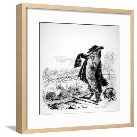 The Wolf Turned Shepherd, Illustration for 'Fables' of La Fontaine (1621-95), Published by H.…-J^J^ Grandville-Framed Art Print