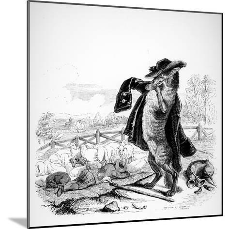 The Wolf Turned Shepherd, Illustration for 'Fables' of La Fontaine (1621-95), Published by H.…-J^J^ Grandville-Mounted Giclee Print