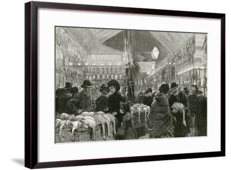 Leadenhall Market at Christmas Time-English School-Framed Art Print