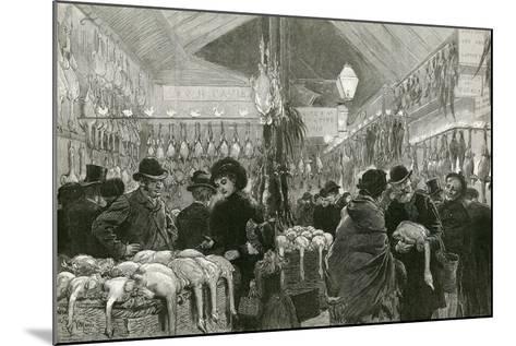 Leadenhall Market at Christmas Time-English School-Mounted Giclee Print