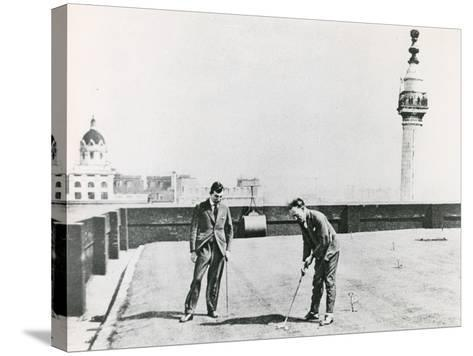 City Golfers Viewed from the Monument--Stretched Canvas Print