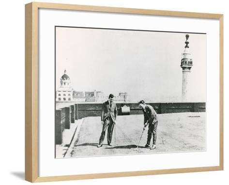 City Golfers Viewed from the Monument--Framed Art Print