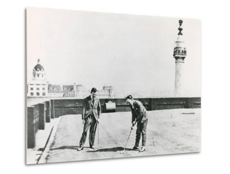 City Golfers Viewed from the Monument--Metal Print