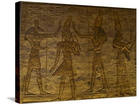 Small Temple or Temple of Hathor. The Gods Set (Left) and Horus (Right) Adoring Ramses II. Abu…--Stretched Canvas Print