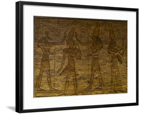 Small Temple or Temple of Hathor. The Gods Set (Left) and Horus (Right) Adoring Ramses II. Abu…--Framed Art Print