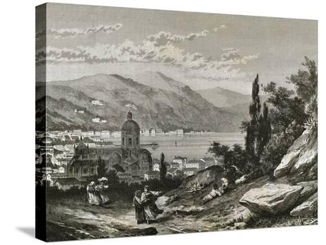 Italy. Como View of the Town Near the Lake--Stretched Canvas Print