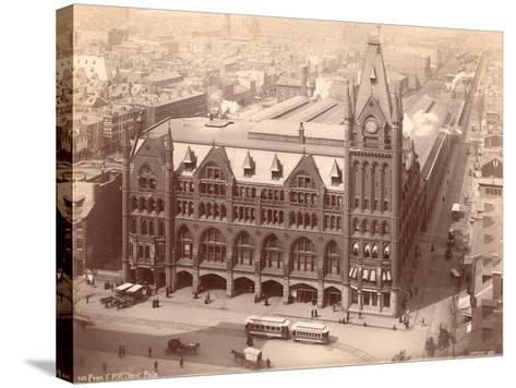 Pennsylvania Railroad Station, Market Street West at Penn Square, 1889--Stretched Canvas Print