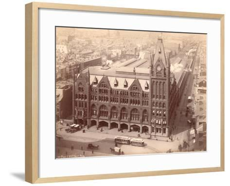 Pennsylvania Railroad Station, Market Street West at Penn Square, 1889--Framed Art Print