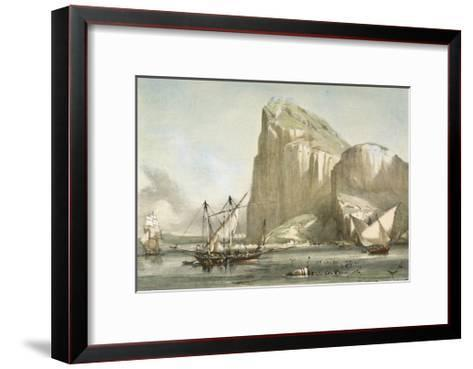 Gibraltar from the Anchorage. Litography--Framed Art Print