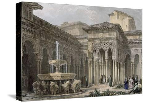 The Alhambra in Granada. Court of the Lions. Engraving--Stretched Canvas Print