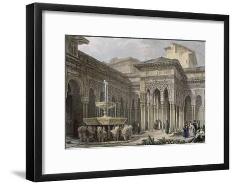 The Alhambra in Granada. Court of the Lions. Engraving--Framed Art Print