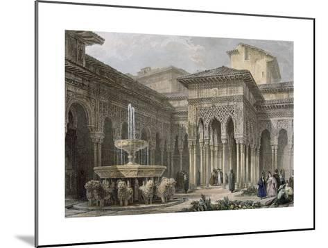 The Alhambra in Granada. Court of the Lions. Engraving--Mounted Giclee Print